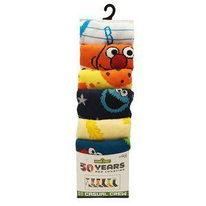 Sesame Street Casual Crew Socks-6 Pairs